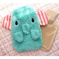 小郑 小腿造型薄荷绿马戏团大象系列热卡通热水袋 暖手水袋