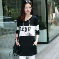 2014秋季新款女装韩版长袖T恤纯棉宽松圆领中长款打底衫大码女装
