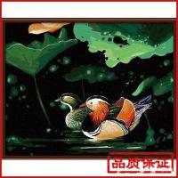 外贸定制油画 花卉 手绘数字油画数字油画贴牌无框画G043鸳鸯戏水