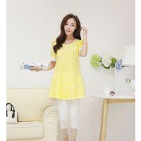 2014日韩中长款大码宽松半袖蕾丝雪纺衫短袖小衫打底衫女上衣