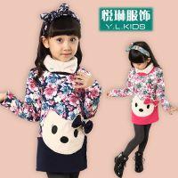 14秋冬新品童装 女童韩版不倒绒花朵打底衫 中童猫咪长袖T恤外套