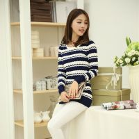 2014女装秋装新款韩版女中长款针织衫长袖条纹拼色套头毛衣打底衫