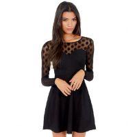2015欧美速卖通ebay黑色蕾丝波点拼接透感圆领长袖连衣裙外贸原
