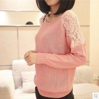 秋装新款 韩版性感蕾丝镂空花朵宽松打底衫长袖针织衫