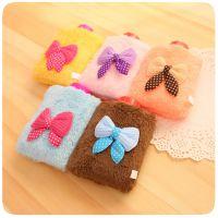 韩版小清新毛绒立体热水袋 卡通暖手壶 便携注水式蝴蝶结暖手袋
