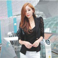 2014韩版新款修身蕾丝拼接时尚小西服外套