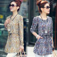 2014新款大码女装打底衫韩版中长款长袖上衣小衫雪纺衫女厂家直销