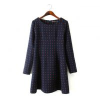 GT6胖MM大码女装秋冬新款欧美时尚毛呢长袖修身连衣裙  0.5kg