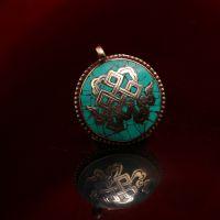 西藏红吉祥结铜镶嵌绿松石散珠挂件㊣吊坠摆件手工DIY必备民族风