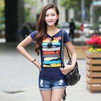 供应2014夏装新款韩版修身显瘦印花圆领短袖T恤女款纯棉打底衫