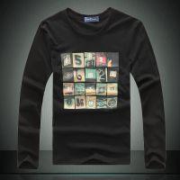 供应批发一件代发男装 修身长袖t恤男韩男T圆领打底衫印花Lpwt13524