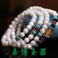 天然白色砗磲手链 108颗六字真言佛珠绿松石隔片手串手链