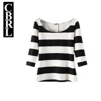 XZ033欧美秋冬新款修身宽条纹撞色黑白T恤女上衣大圆领打底衫