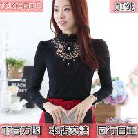 秋冬新款 韩版镶钻镂空蕾丝加绒打底衫