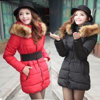 2014冬装新款雪中飞波司登羽绒服女中长款毛领韩版修身加厚女