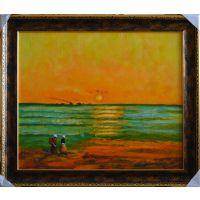 一品软装油画 名画临摹梵高向日葵油画 渔夫与海油画 丰收油画3幅 带框尺寸60x70