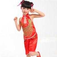 一件代发 儿童唐装演出服表演服礼服女 六一演出舞蹈服  一件代发