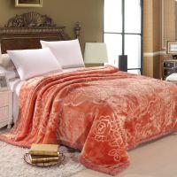 秋冬 高档剪花双层加厚纯色拉舍尔毛毯8.8斤 多色多功能毯