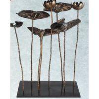 美式现代风格 吉祥铁艺荷叶摆件法式铁艺饰品摆设 水池荷花工艺品