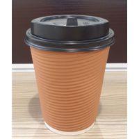 武汉永安纸塑批发400ml瓦楞纸杯 双层咖啡杯批发