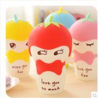 默默爱♥番茄可爱骨瓷牛奶马克杯 创意大陶瓷情侣对杯带盖 水杯子