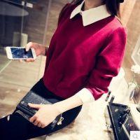 2014秋冬款韩版 短款长袖打底衫翻领假两件呢子衬衫女