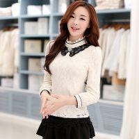 2014秋冬新款韩版修身翻领蕾丝打底衫甜美百搭娃娃领加绒蕾丝衫女