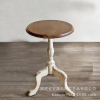 欧式茶几 仿古实木美式休闲小桌子咖啡桌雕花圆形边几角几订做