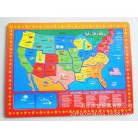 厂家生产定制木制美国地图平面拼图拼版  儿童早教益智学习玩具