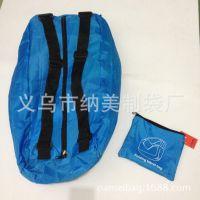便携式可折叠运动双肩背包 可折叠牛津格纹多功能手提包旅行包