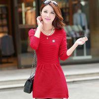 2014秋冬新款韩版中长款修身型长袖低圆领套头针织连衣裙女装