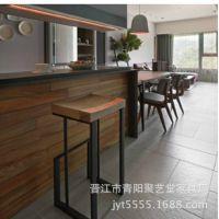 欧式铁艺吧台椅实木高脚凳休闲椅咖啡椅实木酒吧凳欧式椅子吧椅