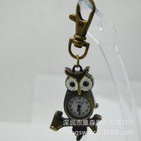 源头促销直销时尚钥匙扣装饰表 创意挂件猫头鹰礼品定做批发