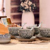 批发销售 餐桌必备青花款16头陶瓷餐具套装
