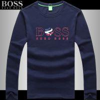 批发14专柜boss波士秋季新款长袖T恤 圆领印花时尚休闲男士打底衫