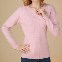 秋冬新款羊绒衫女圆领打底衫纯色羊毛衫短款修身貂绒套头扭花毛衣