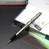欧洲鳄鱼钢笔 228纯黑丽雅金夹钢笔/墨水笔 鳄鱼笔 礼品笔