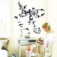不伤墙贴纸超大客厅贴 无白边PVC透明膜 AY9118黑色女人花