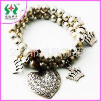 【串珠手链】欧美时尚质感金属百搭高贵皇冠挂件合金手链外贸饰品