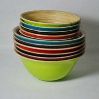 巨匠厂家定制欧式环保竹制色拉碗,竹水果碗,竹水果盆,手工竹碗