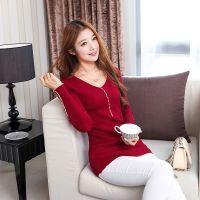 2014秋季毛衣新款韩版针织衫中长款袖口纽扣领修身套头女打底衫