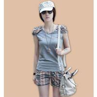 2014韩版修身时尚大码短袖运动服格子短裤套装