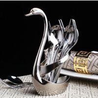 锌合金天鹅果篮配不锈钢水果叉子勺子 时尚创意咖啡勺子果叉套装
