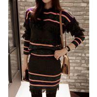 2014年韩版秋冬新款条纹连衣裙 两件套