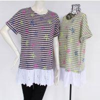 女装新品2014年夏季短袖衫  韩版时尚星星图案修身大码镂空T恤衫