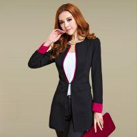 2014秋季新款韩版女装百搭撞色暗扣小西服外套中长款修身小西装