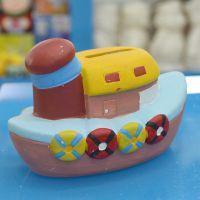 中号交通工具 爆款轮船白坯陶瓷工艺品 厂家直销 陶瓷储蓄罐