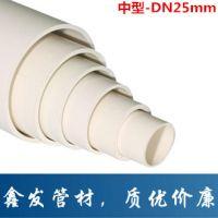 优质厂家供应建筑用中型DN25MM塑料管硬管  PVC电线管
