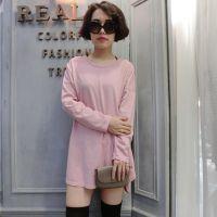 2015春装新款韩版女式T恤纯色长袖中长款圆领打底衫修身百搭T恤