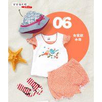 欧美外贸原单品牌童装 短袖二件套套装 夏款 女童婴幼儿T恤短裤